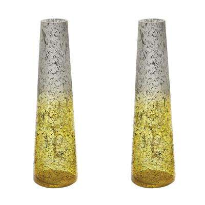Ombre 16 in. Glass Snorkel Decorative Vase in Lemon (Set of 2)