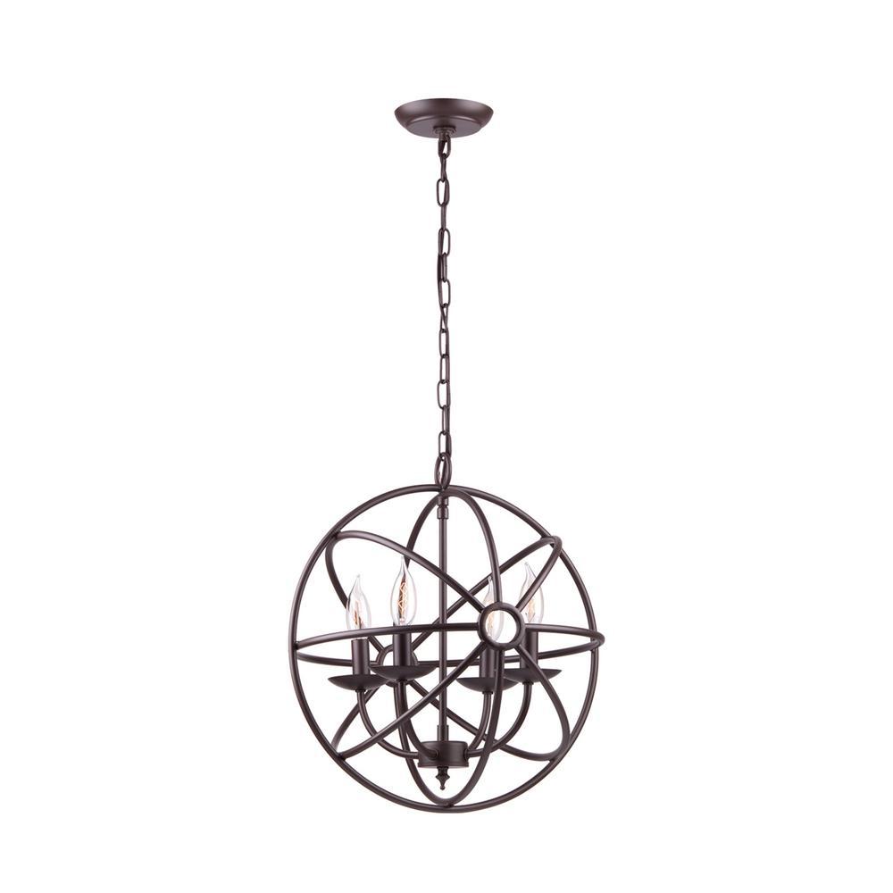 15 in. 4-Light Dark Bronze Sphere Chandelier