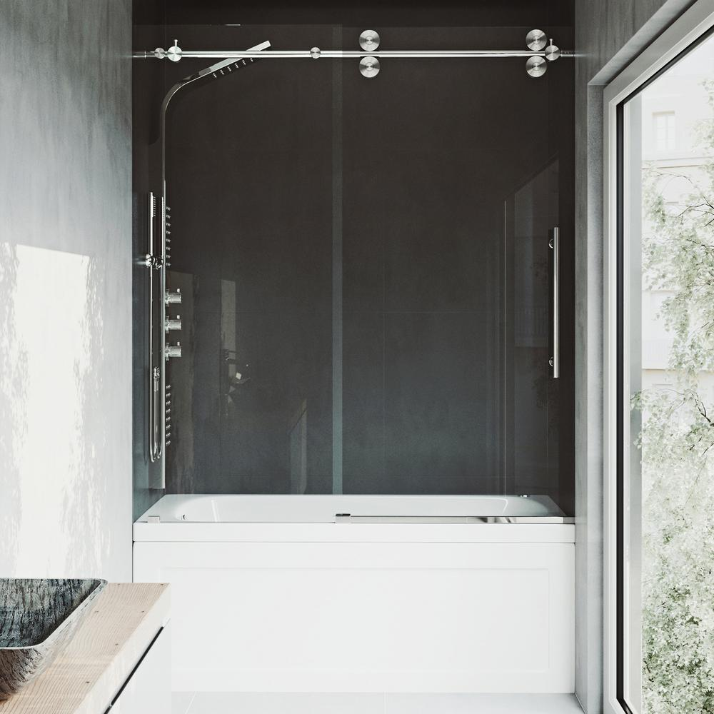 VIGO Elan 60 in. x 66 in. Frameless Sliding Tub Door in Stainless Steel and Clear Glass
