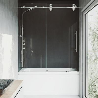 Elan 60 in. x 66 in. Frameless Sliding Tub Door in Stainless Steel and Clear Glass
