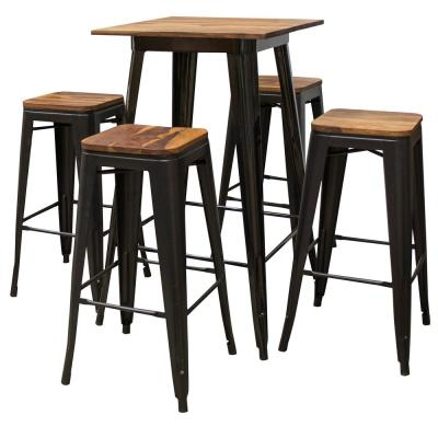 Pub-Height Black Table Set with Sheesham Top (5-Piece)