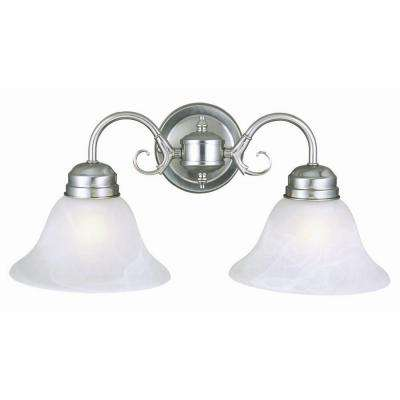 Design House Millbridge 2 Light Satin Nickel Sconce With Alabaster Glass Shade 511600 The Home Depot