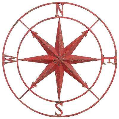 41 in. Dia. Compass Rose Metal Wall Plaque