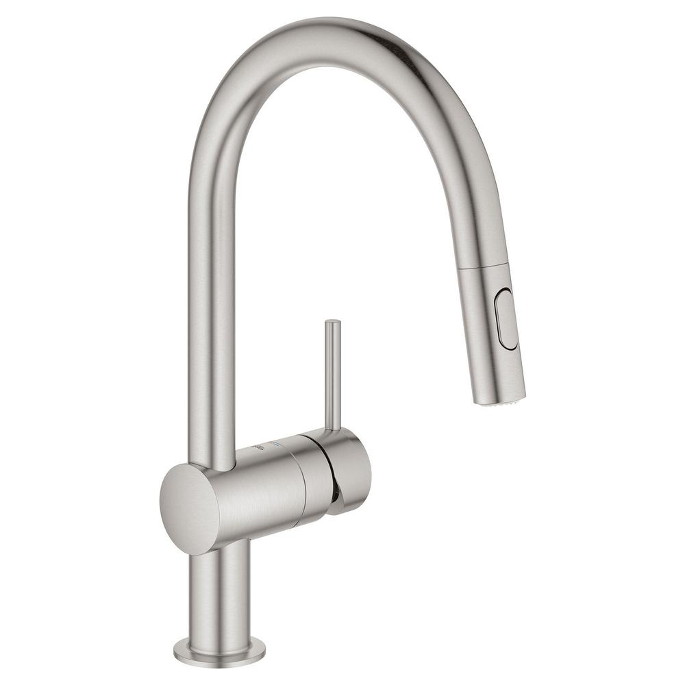 GROHE Minta Single-Handle Dual Spray Pull-Out Sprayer Kitchen Faucet 1.75  GPM in SuperSteel InfinityFinish