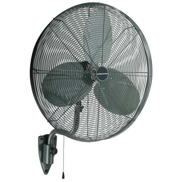 30 in. 3-Speed High Velocity Black Wall Mount Fan with 3 Blades