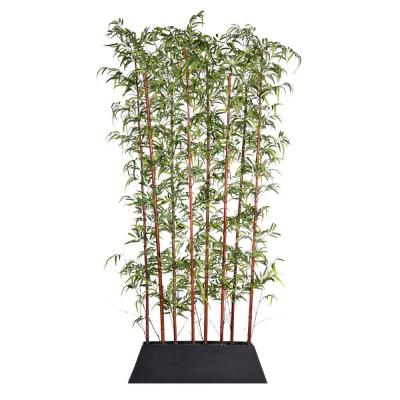 96 in. Tall Burgundy Bamboo Screen in Pot - KD