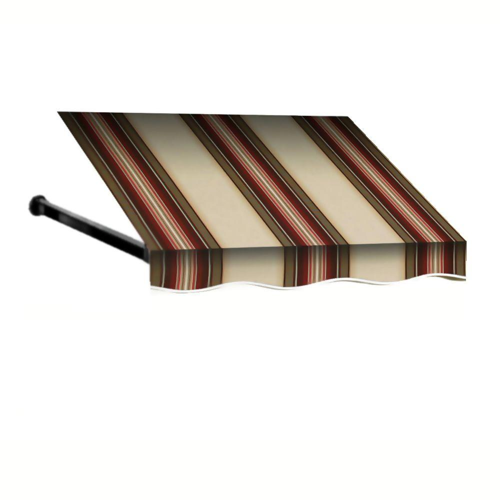 AWNTECH 8 ft. Dallas Retro Window/Entry Awning (16 in. H x 30 in. D) in Brown/White Stripe