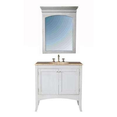 Alyssa 36 in. Vanity in Cream Off-White with Marble Vanity Top in Travertine with White Undermount Sink and Mirror