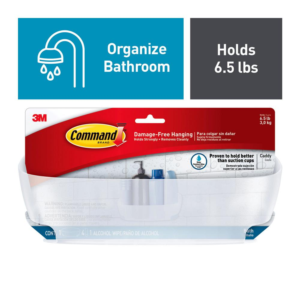 Command Strips BATH11-ES Command Shower Caddy With Water-Resistant Strips