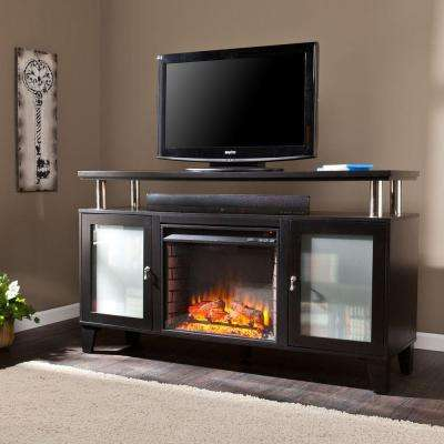 Cornelius 60 in. Freestanding Media Electric Fireplace TV Stand in Black