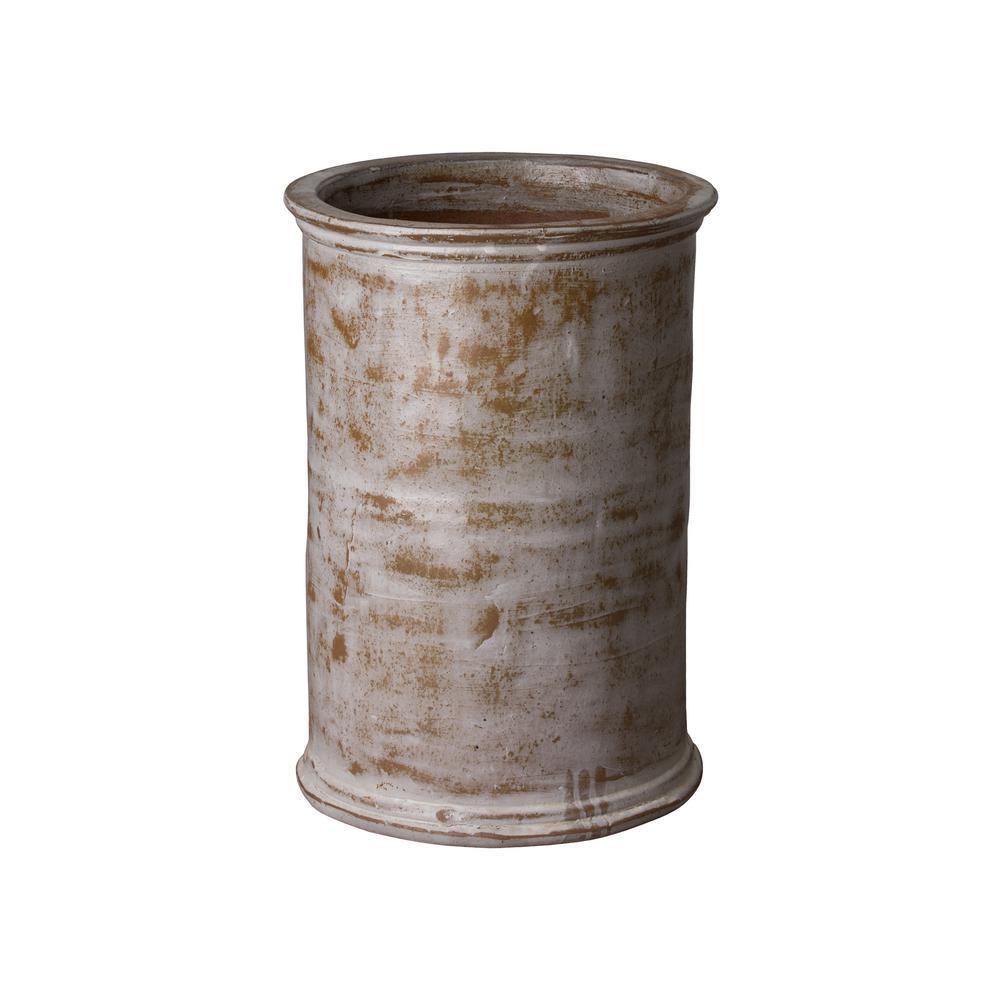20 in. Round Distressed White Ceramic Cylinder Planter