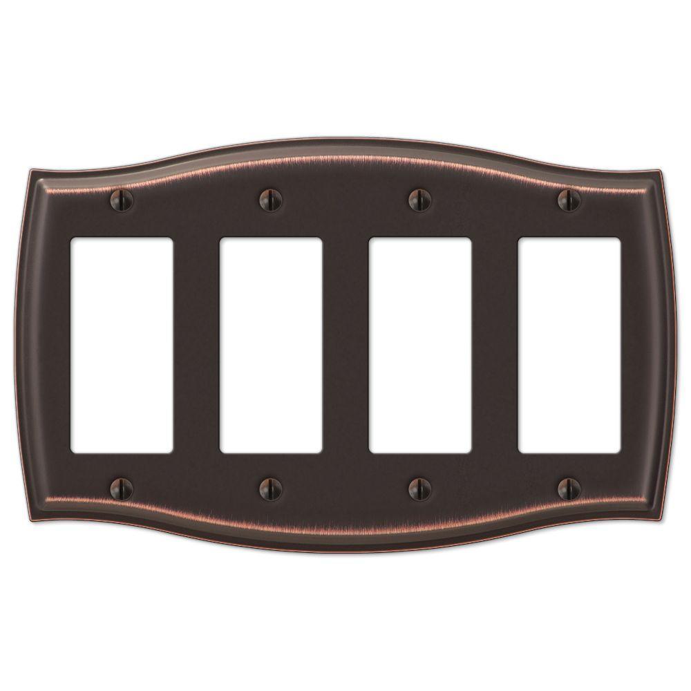 Vineyard 4 Gang Rocker Steel Wall Plate - Aged Bronze