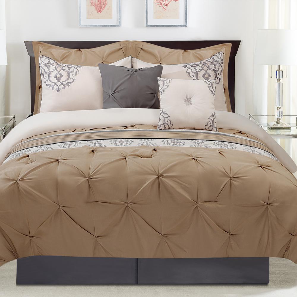 Sarasa 8 Piece Taupe King Comforter Set