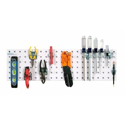 31.5 in. x 9 in. Steel Square Hole Pegboard Strip Set in White and LocHook Assortment (8-Piece)