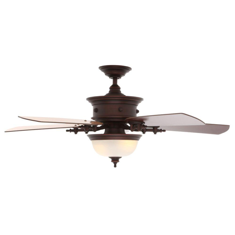 Hampton Bay Dawson 54 in. Indoor Weathered Copper Ceiling Fan with Light Kit and Remote Control