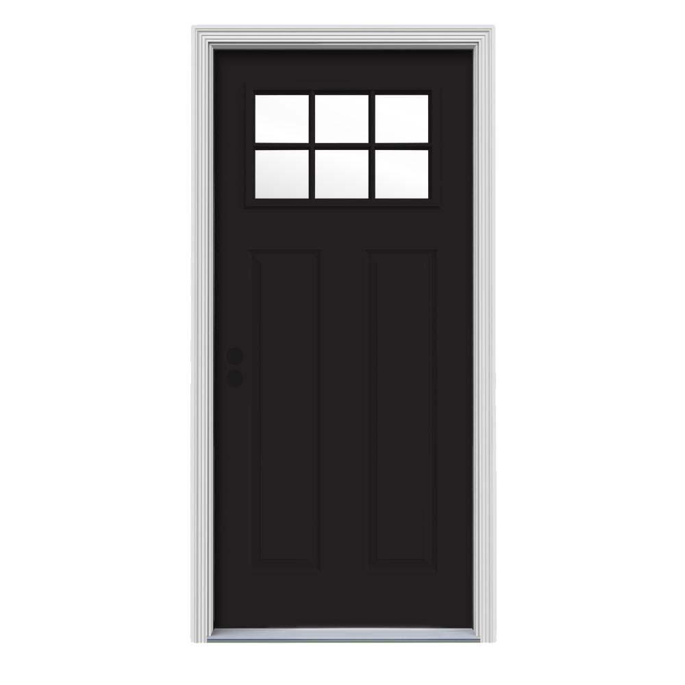 34 in. x 80 in. 6 Lite Craftsman Black w/ White Interior Steel Prehung Right-Hand Inswing Front Door w/Brickmould