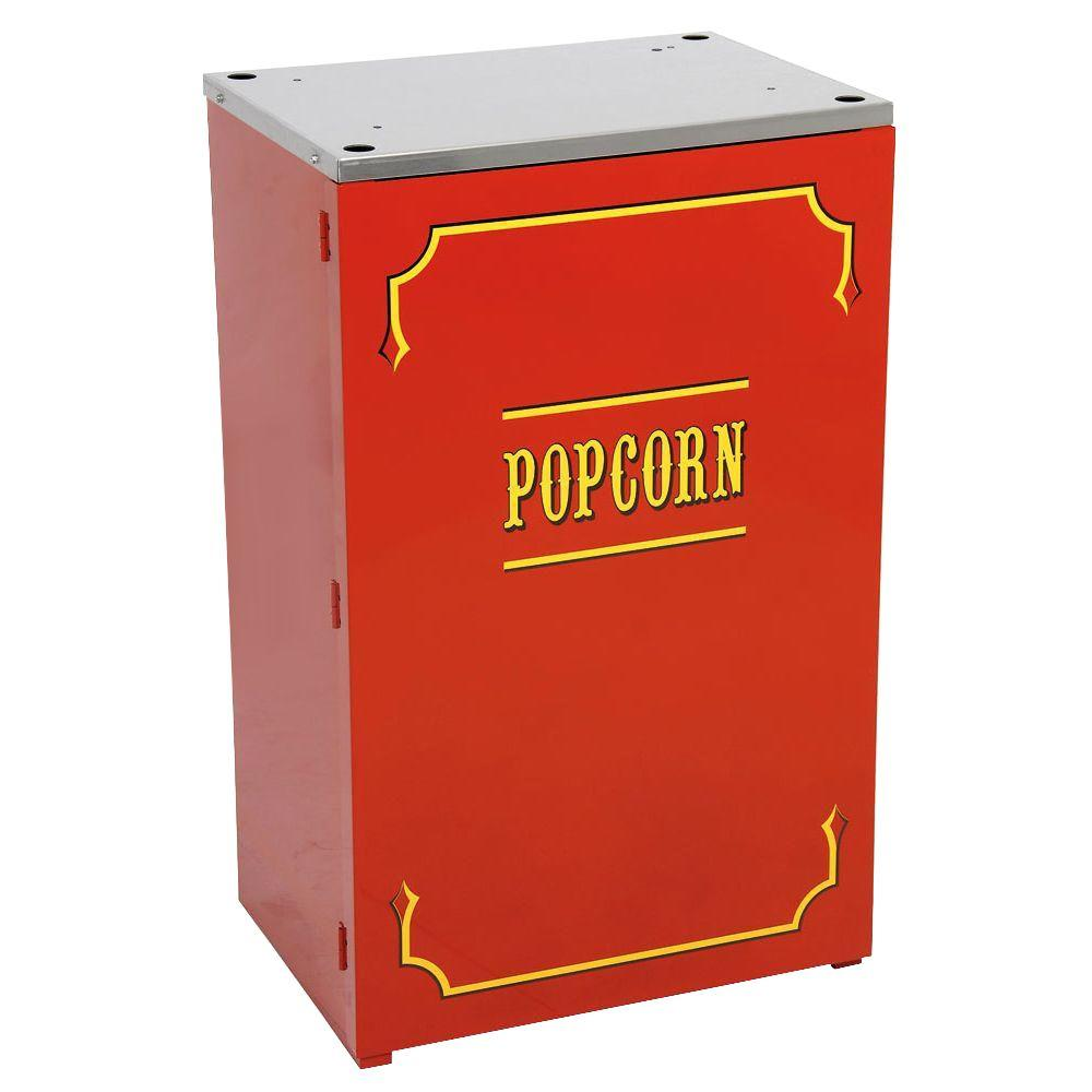 Paragon Premium Theater 6 and 8 oz. Popcorn Stand, Red/Powder Coat Stands provide easier access and better merchandising. The sturdy, all steel construction has a chip resistant coating. Also features convenient built-in storage space and breaks down easily for storage and transportation. Classic, commercial concession look that will enhance the most up-scale room, while maintaining the same high-end commercial quality in home use or commercial setting. Color: Red/ Powder Coat.