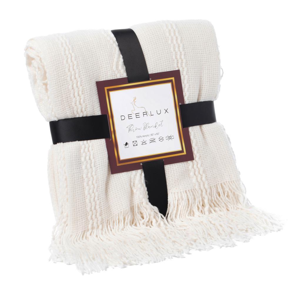 Decorative Zigzag Stripe Pattern Knit Throw Blanket with Fringe, Cream