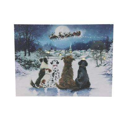 15.75 in. LED Fiber Optic Lighted Dogs Watching Santa Claus Christmas Wall Art