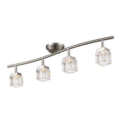 31.5 in Glass and Brushed Nickel Integrated LED Track Lighting Kit