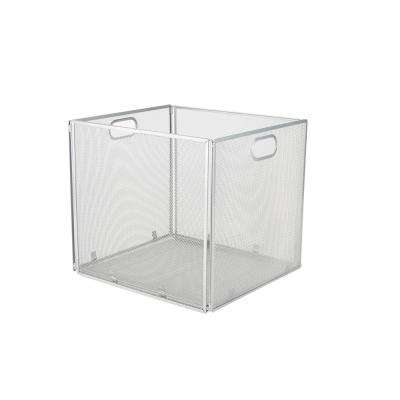 Mesh File Box with Handle, Silver