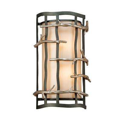 Adirondack 2-Light Graphite and Silver Leaf Wall Sconce