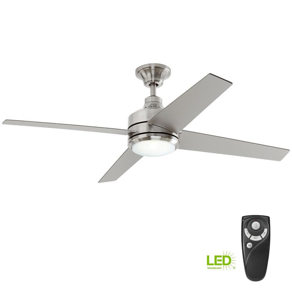 nickel ceiling fan with light pewter home decorators collection mercer 52 in led indoor brushed nickel ceiling fan with light kit