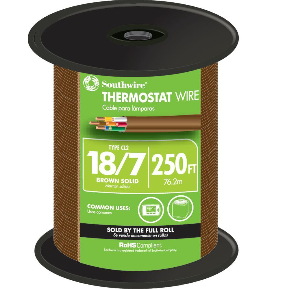 Thermostat Wire 18//4 Brown 18-Gauge Solid Copper 4-Conductor CL2//CMR 25ft