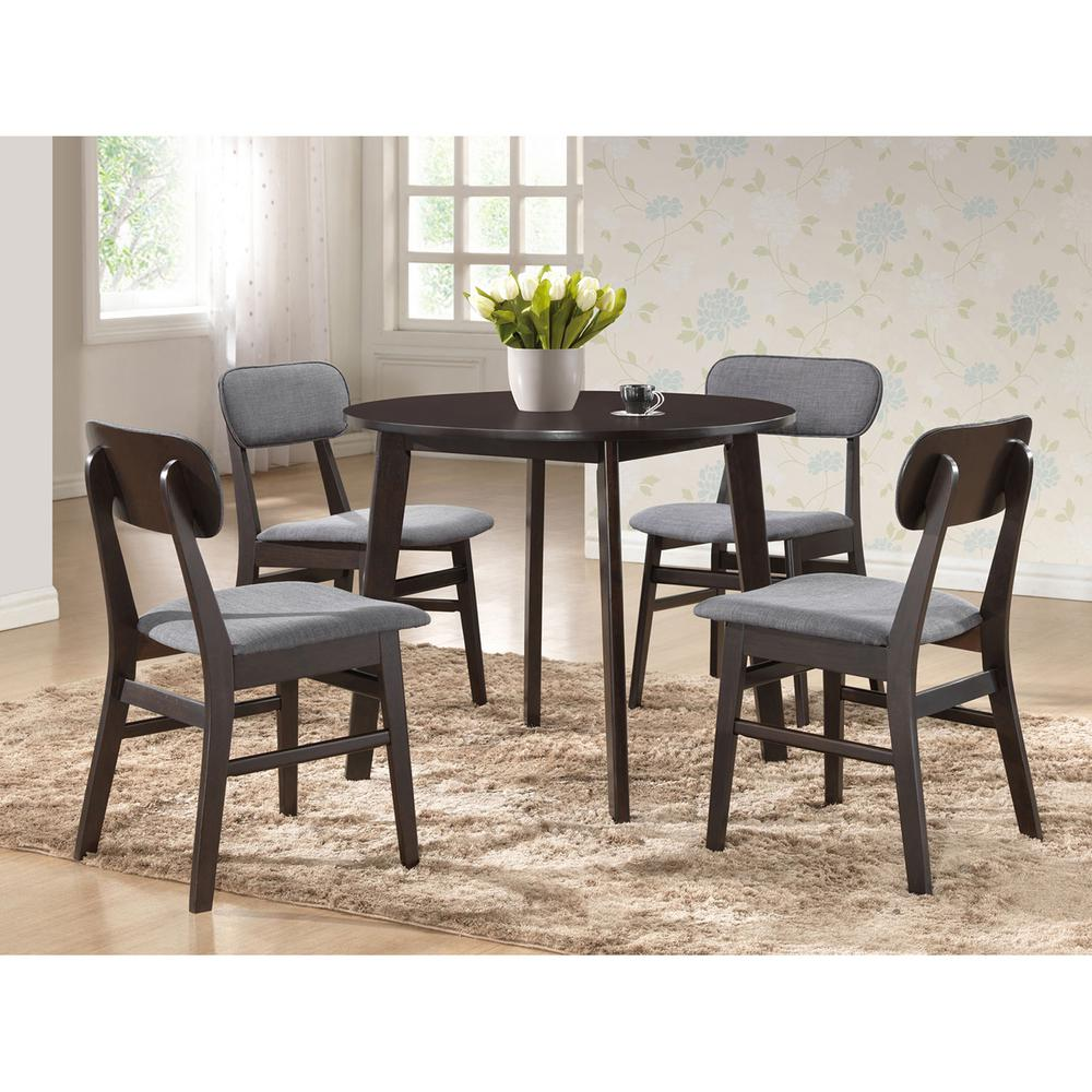 Debbie 5-Piece Gray Fabric Upholstered Dining Set