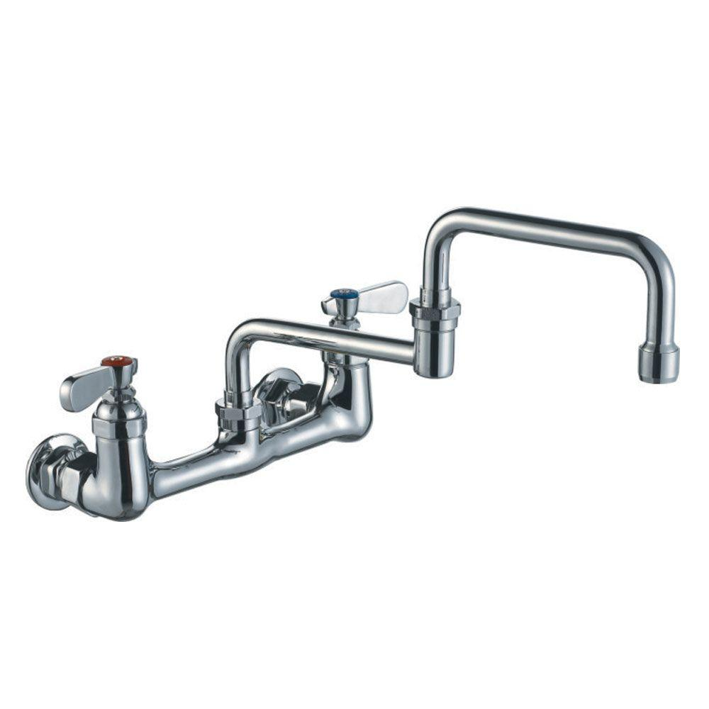 Widespread 2 Handle Wall Mount Utility Faucet In Polished