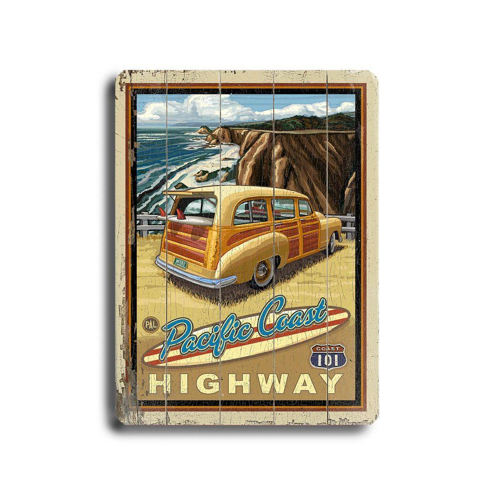 ArteHouse 14 in. x 20 in. Woody at the Beach Vintage Wood Sign-DISCONTINUED