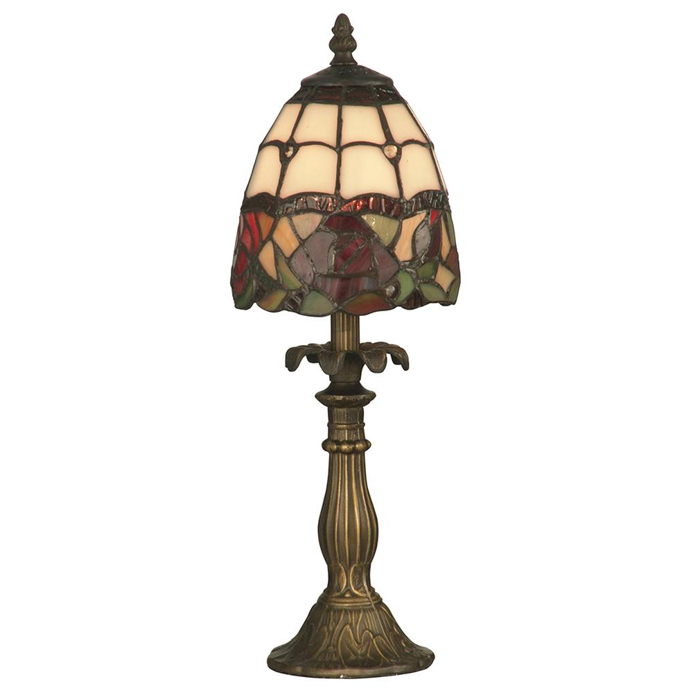 Antique Brass Accent Table Lamp With Tiffany Glass Shade
