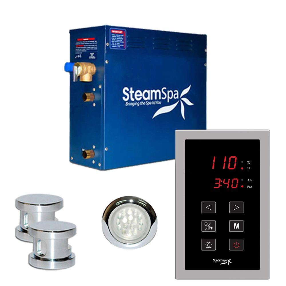 SteamSpa Indulgence 10.5kW Touch Pad Steam Bath Generator Package in Chrome