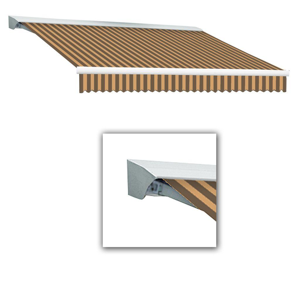 AWNTECH 8 ft. LX-Destin with Hood Left Motor/Remote Retractable Acrylic Awning (84 in. Projection) in Brown/Tan