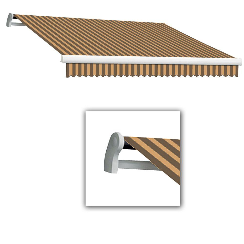 AWNTECH 14 ft. Maui-LX Left Motor Retractable Acrylic Awning with Remote (120 in. Projection) in Brown/Tan
