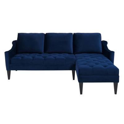 Amelie Navy Blue Tufted Reversible Chaise Sectional