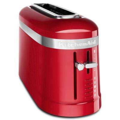 2-Slice Red Long Slot Toaster with High-Lift Lever