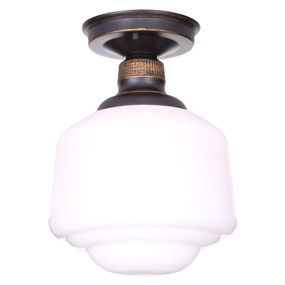 Hampton Bay Esdale 8 in. 1-Light Oil-Rubbed Bronze Semi-Flushmount with Milk Glass Shade