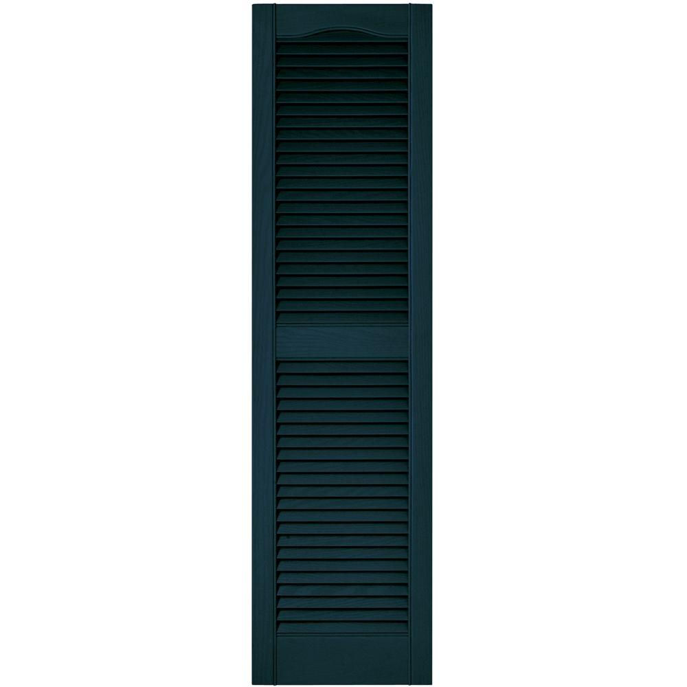 Builders Edge 15 in. x 55 in. Louvered Vinyl Exterior Shutters Pair in #166 Midnight Blue