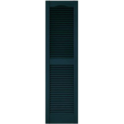 15 in. x 55 in. Louvered Vinyl Exterior Shutters Pair in #166 Midnight Blue