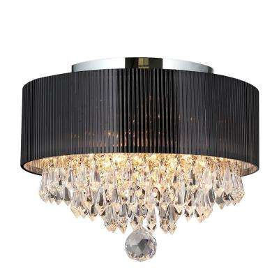 Gatsby Collection 3 Light Crystal and Chrome Ceiling Light with Black Shade