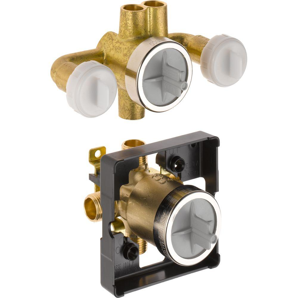 Genial Delta Jetted Shower 6 Setting Rough In Valve With Extra Outlet