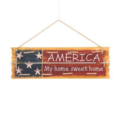 6.5 in. H Patriotic Wooden Word Sign