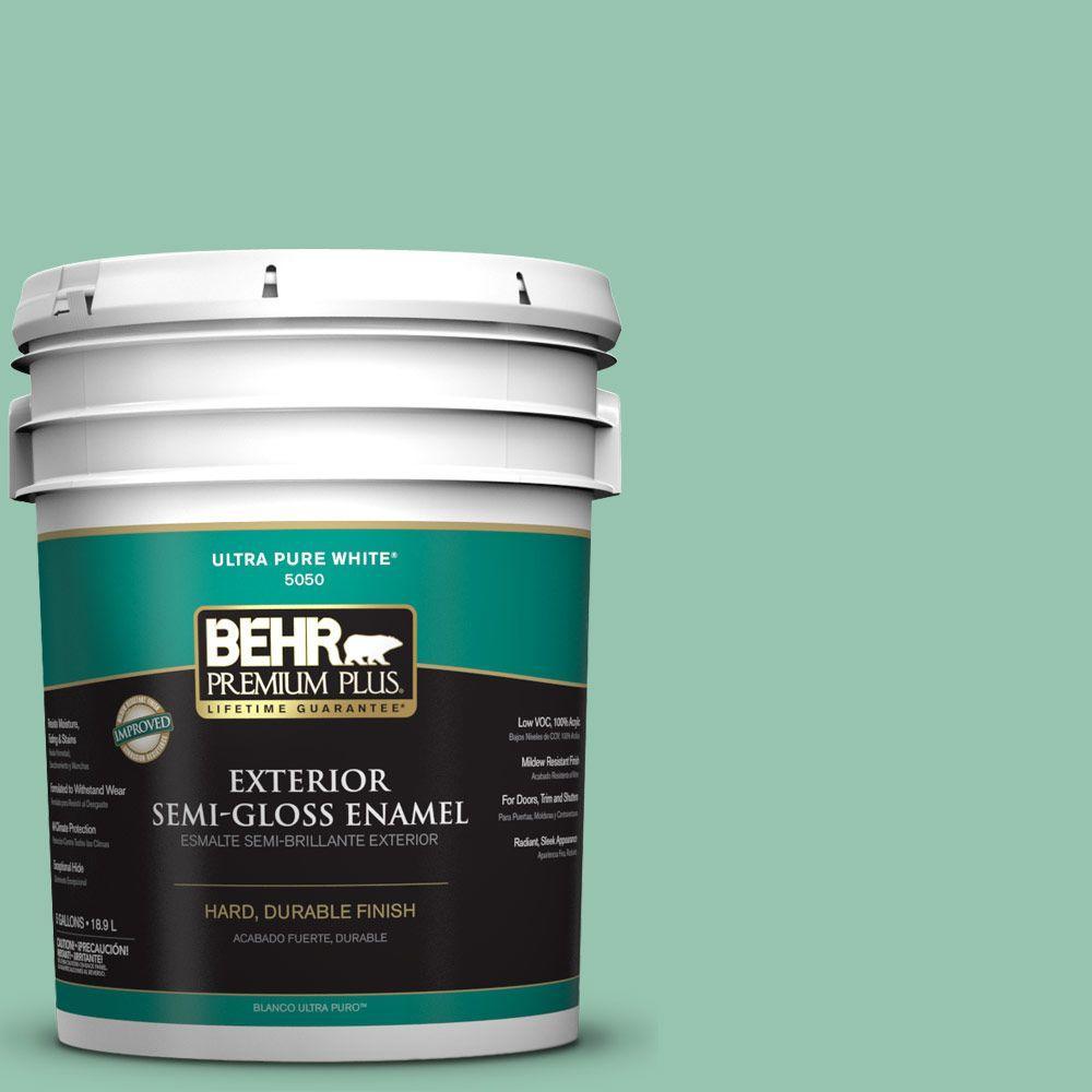 5-gal. #M420-4 Jade Mountain Semi-Gloss Enamel Exterior Paint