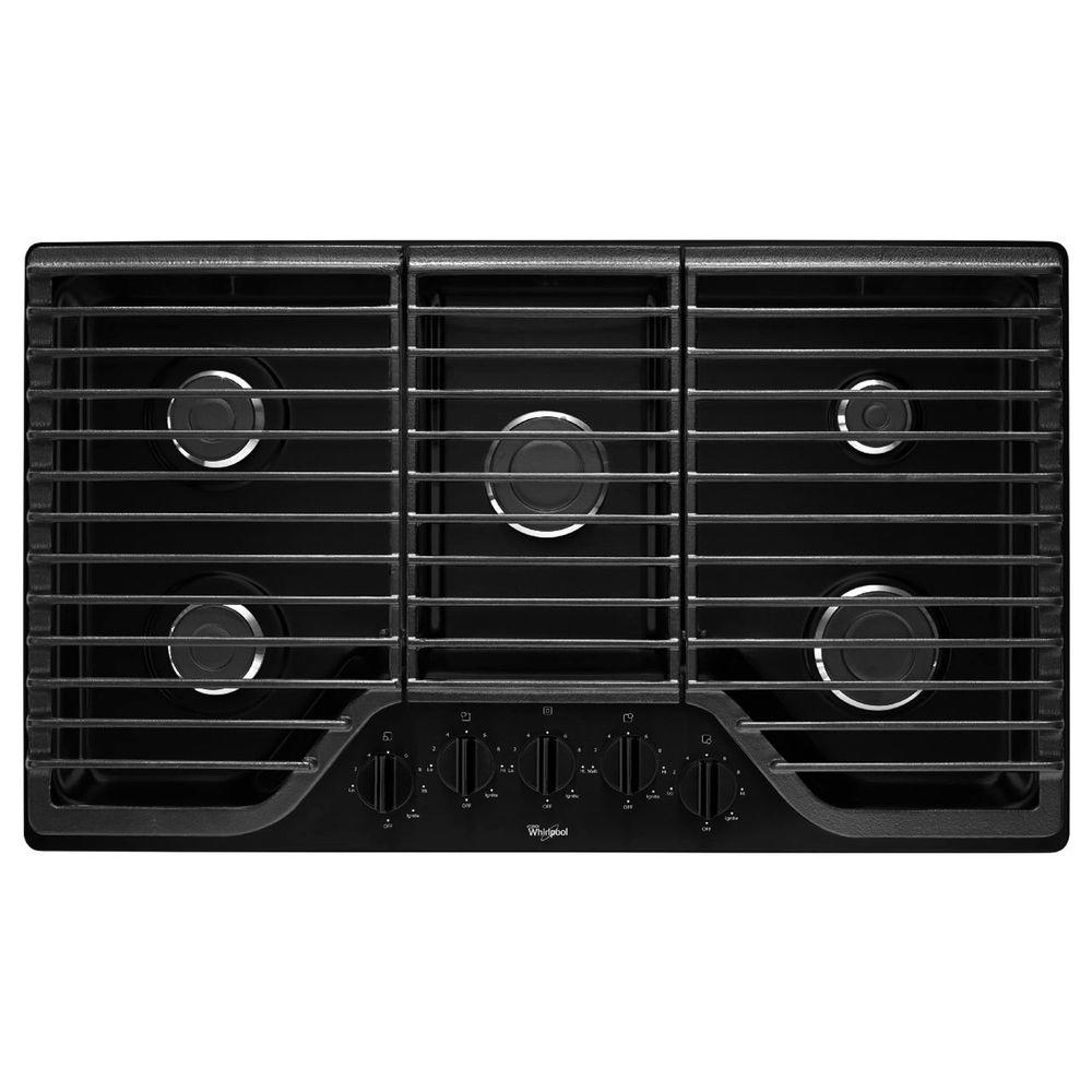 Whirlpool 36 In Gas Cooktop In Black With 5 Burners