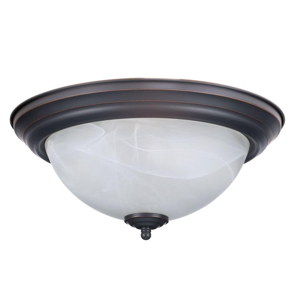 Design House 2-Light White Ceiling Square Mount Light Fixture with ...