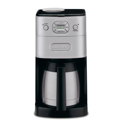 10-Cup Grind and Brew Brushed Chrome with Thermal Carafe Drip Coffee Maker
