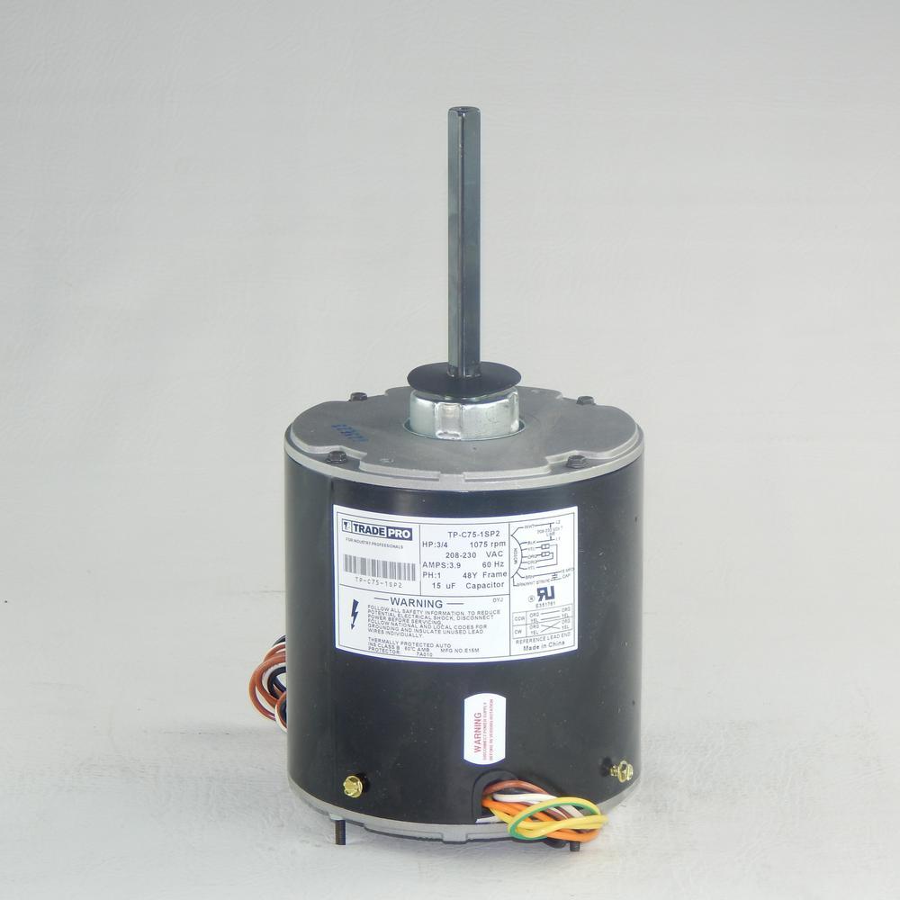 Replacement Condenser Fan Motor 3/4 HP Single Speed 1075 RPM 230-Volt