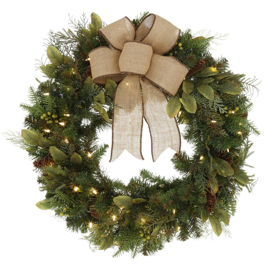 Artificial Christmas Wreaths.Home Accents Holiday 30 In Led Pre Lit Nature Inspired Artificial Christmas Wreath With Burlap Bow And 50 Battery Operated Warm White Lights