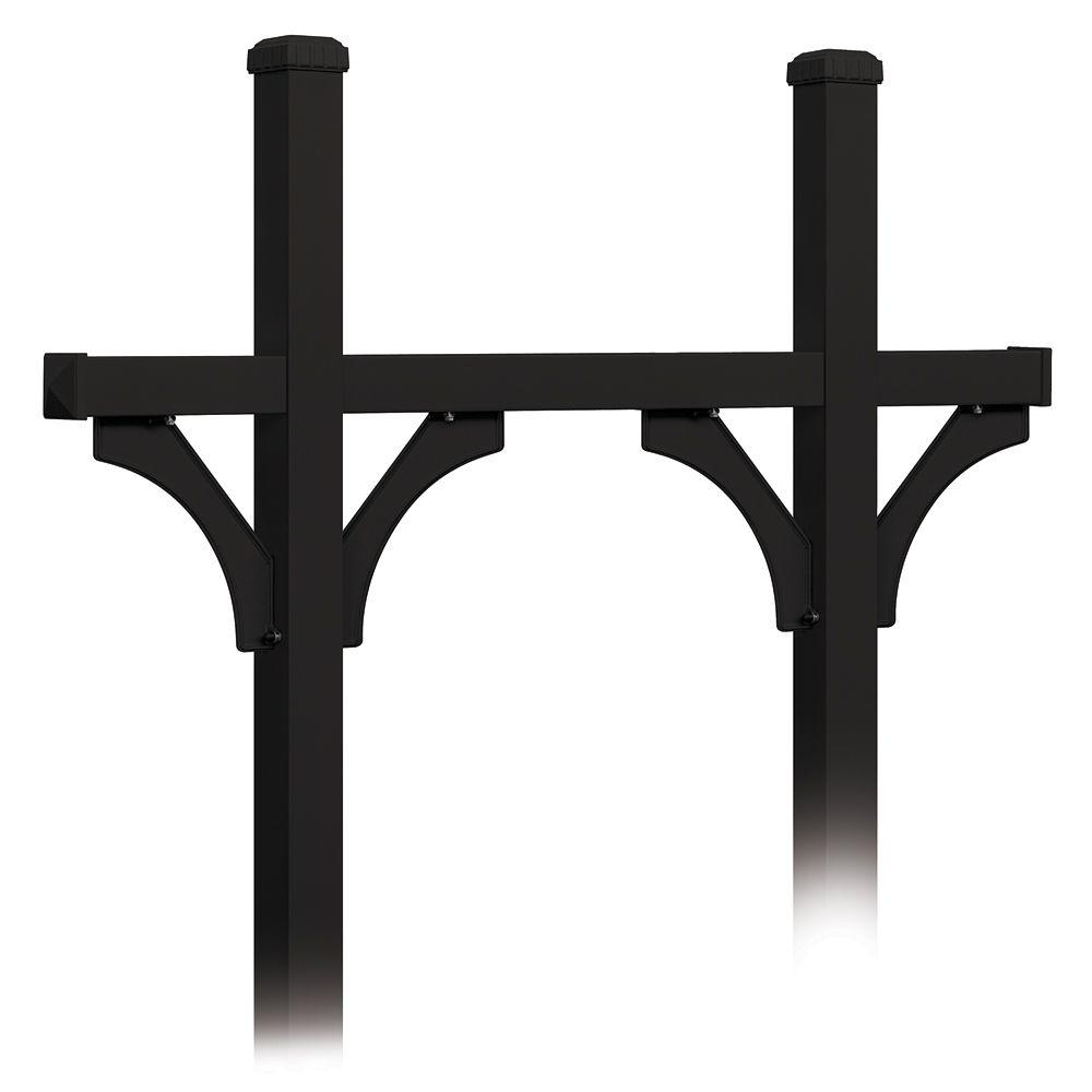 Deluxe In-Ground Mounted Bridge Style Post for 5 Mailboxes, Black
